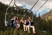Wedding guests on chairlift
