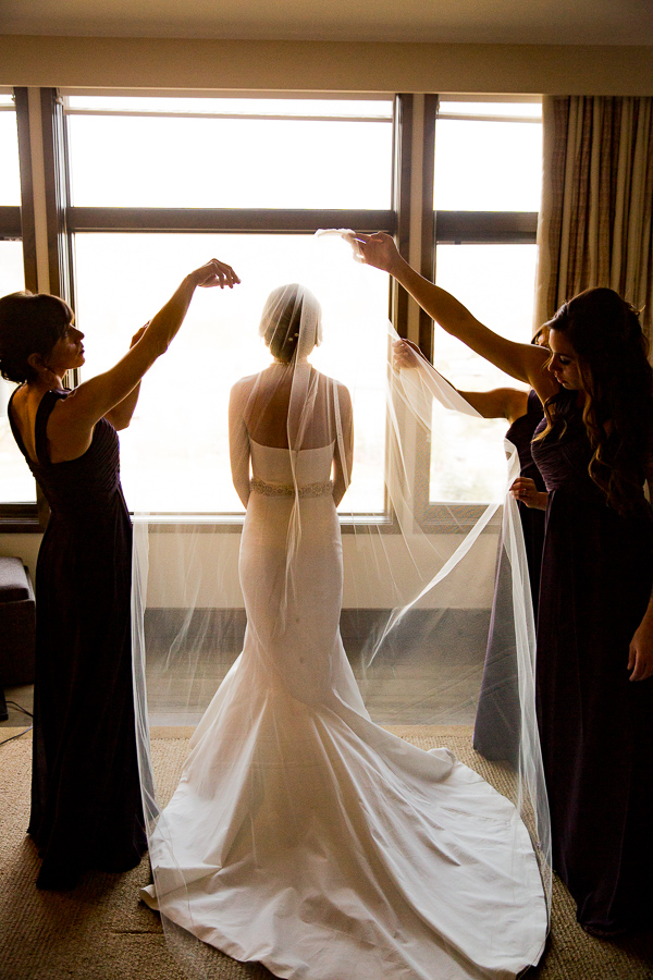Bride veil bridesmaids
