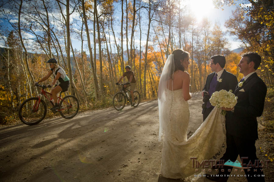 Couple and mountain bikers
