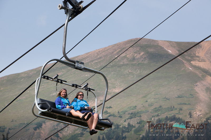 Guests taking the chairlift to the top of A-Basin