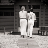 Angie and Danielle entering the Black Mountain Lodge
