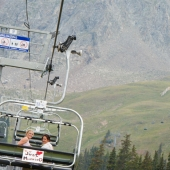Newlyweds on the chairlift