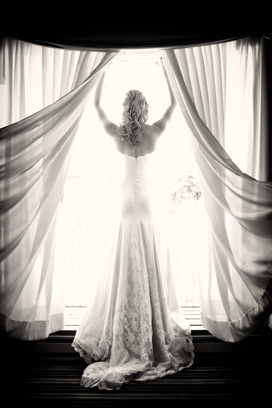 Bride in window portrait