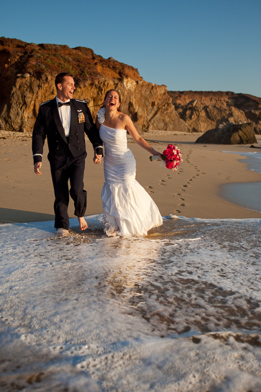 Newlyweds on a beach in California