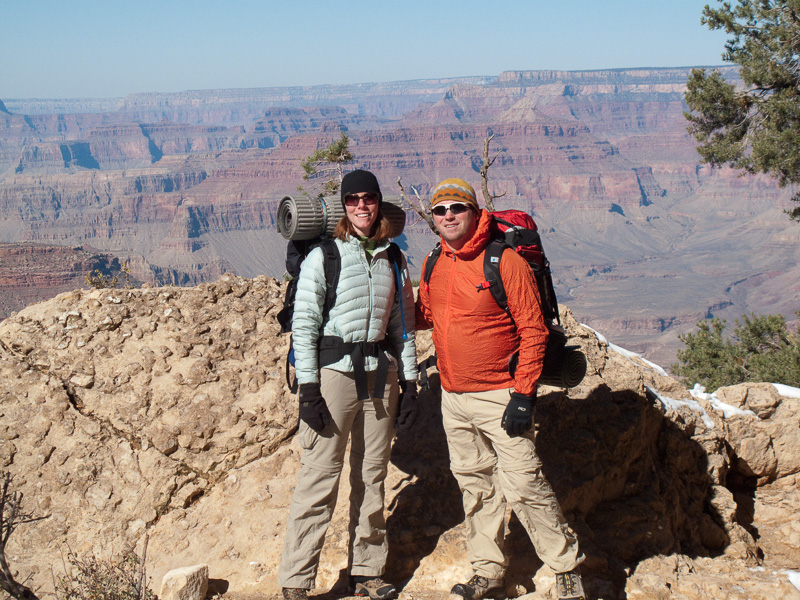 Tim and Carin backpacking the Grand Canyon