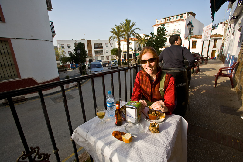 Carin eating Tapas in a small village in Spain