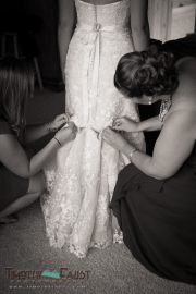 Bustling the dress