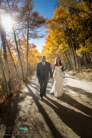 Bride and groom in the aspens