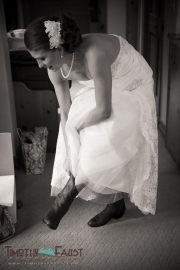 Putting her cowboy boots on