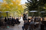 Wedding ceremony on the deck of the Splendido at the Chateau in Beaver Creek, Colorado