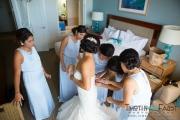 Bride getting dressed