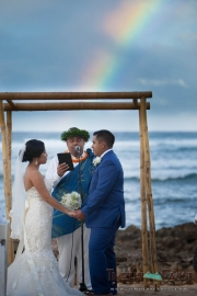 Wedding ceremony with rainbow