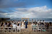 Wedding ceremony with rainbow