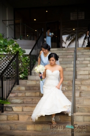 Bride leaving hotel