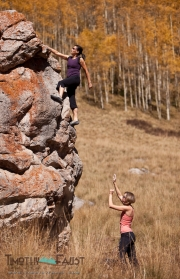 Women Bouldering on Shrine Pass in the Fall