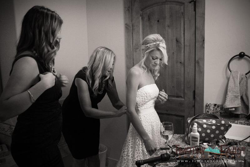 Bride and her mother getting ready