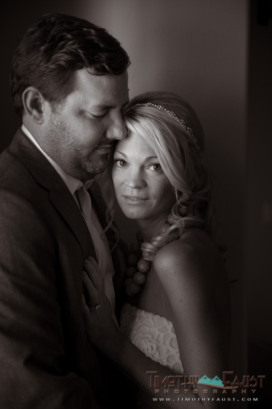 Window light portrait of couple
