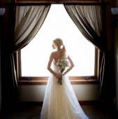 Backlit bridal portrait