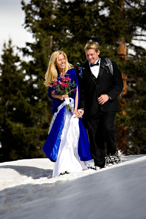 Newlyweds Snowshoing