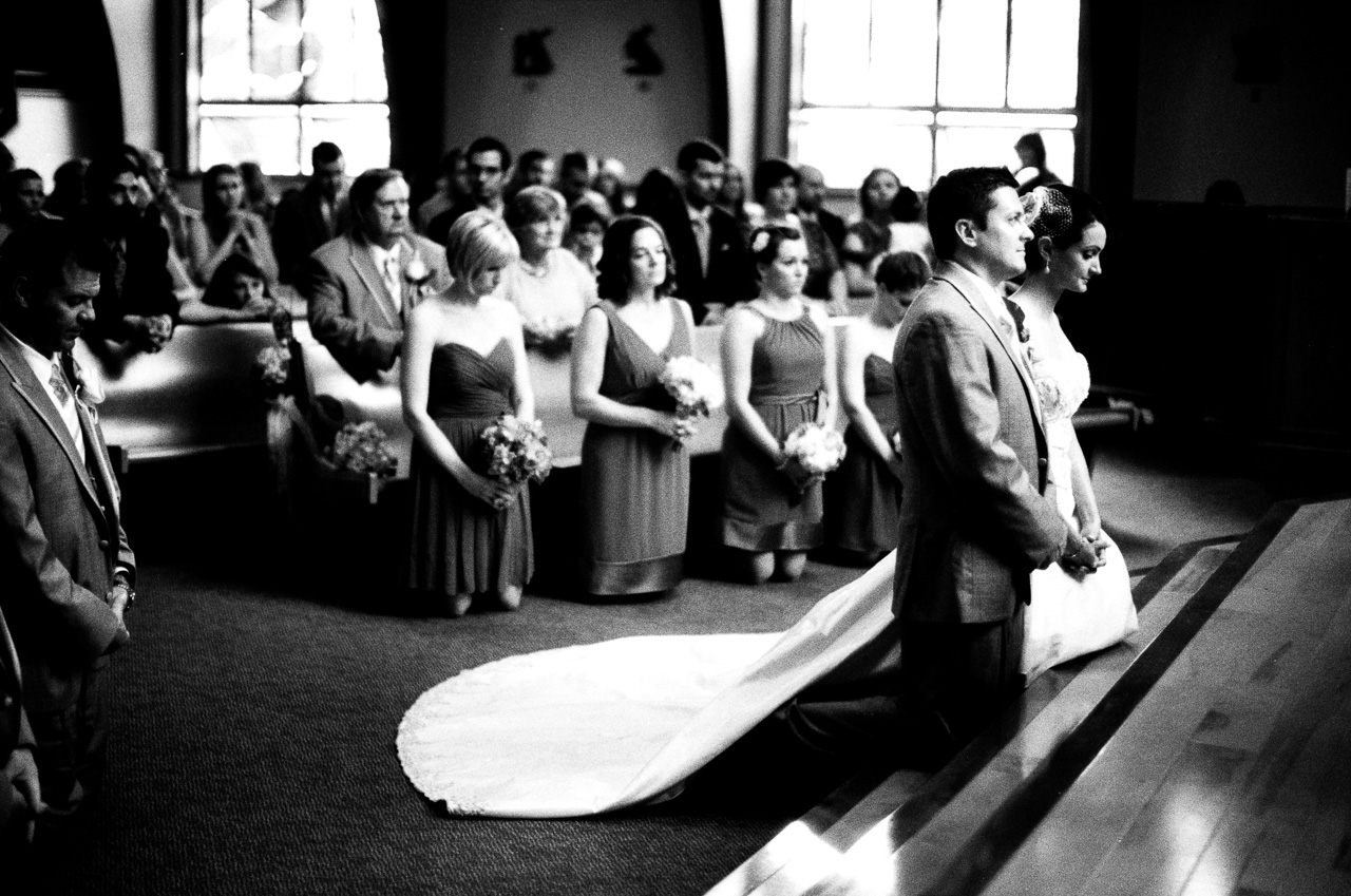 Ceremony at St. Mary's in Breckenridge (B&W film)