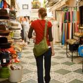 A woman shops the walkways in Milpas, Andalucia, Spain