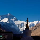 Mount Everest and Rongbuk Monastery, Tibet