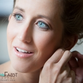 Window light was used for short lighting on the bride's face.
