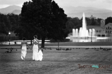 Infrared film photo of brides in Denver City Park