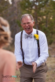 Father seeing the bride in her dress for the first time
