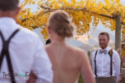 Groom seeing bride in her dress for the first time