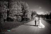 Bride and groom dirt road