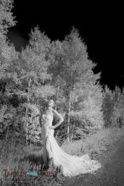 Black and white infrared bridal portrait