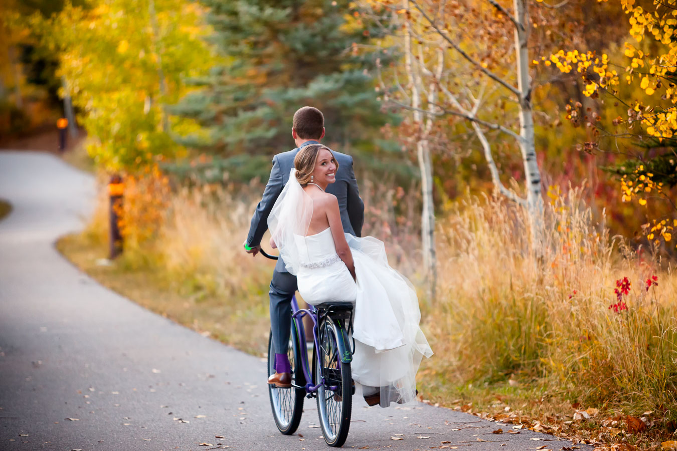 bride groom bike