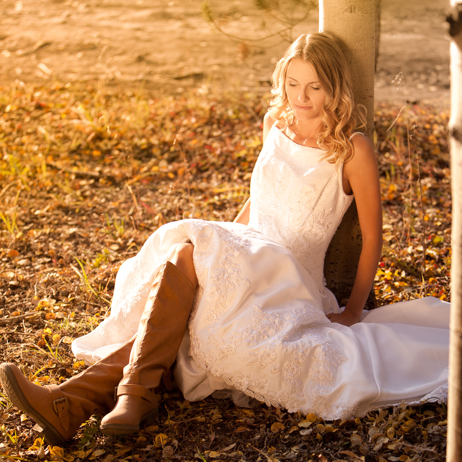 Bridal portrait in fall at sunset