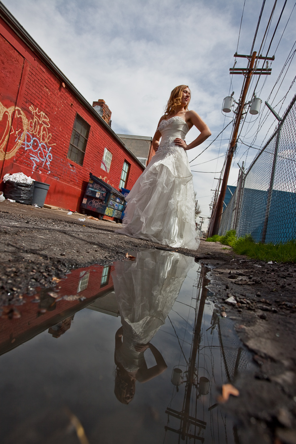 bride urban reflection