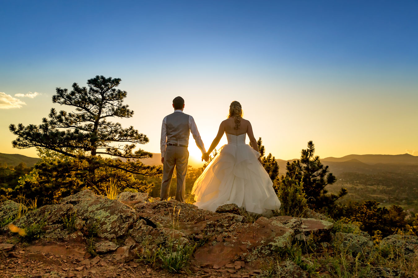 Wedding boulder sunset