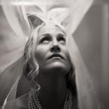 Bride under an overhead light
