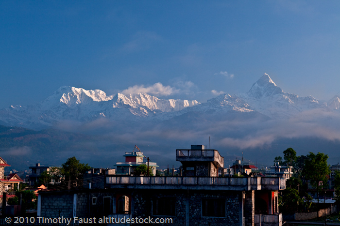 View from the roof of our friend's house in Nepal looking north towards the Annapurnas.